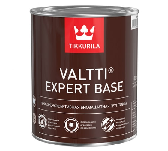 Высокоэффективная биозащитная грунтовка TIKKURILA VALTTI EXPERT BASE 0,9л 700009578 - цена, отзывы, характеристики, фото - купить в Москве и РФ