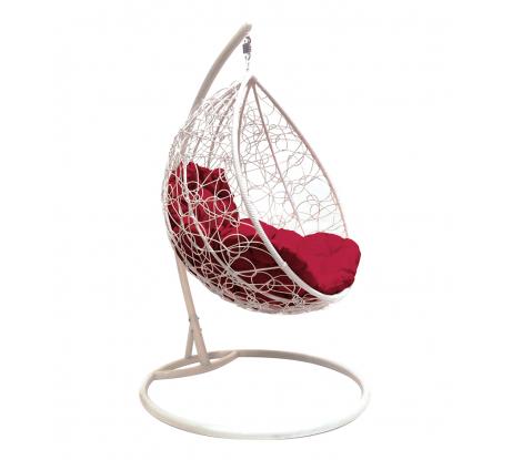 Подвесное кресло M-Group Капля Ротанг, белое, бордовая подушка, 7930095240186 в Волгограде - купить, цены, отзывы, характеристики, фото, инструкция