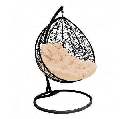 Подвесное кресло для двоих M-Group с ротангом, черное, бежевая подушка 7930095241787 в Санкт-Петербурге купить по низкой цене: отзывы, характеристики, фото, инструкция
