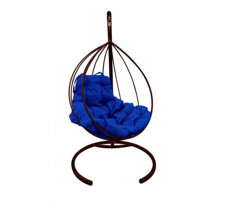Подвесное кресло M-Group Капля, без ротанга, коричневое, синяя подушка, 7930095240292 в Самаре - купить, цены, отзывы, характеристики, фото, инструкция
