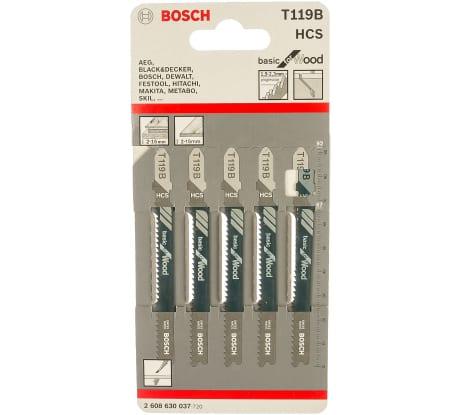 Фото пилок для лобзика по дереву Bosch T 119 B 2608630037 67 мм; HCS 5