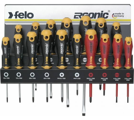 Купить набор отверток felo ergonic sl/pz/ph/tx и vde на стальной стойке, 17 шт 40091743 в Ульяновске - цены, отзывы, характеристики, доставка, гарантия, инструкция