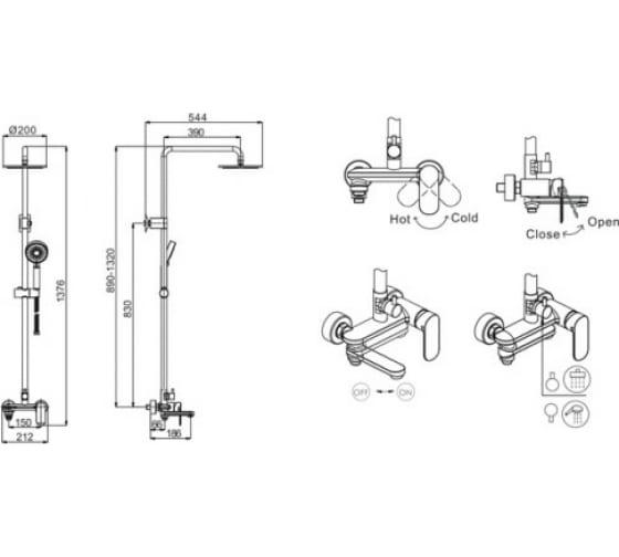 Душевая стойка Bravat Opal 00-00021215 F6125183CP-A1-RUS 5