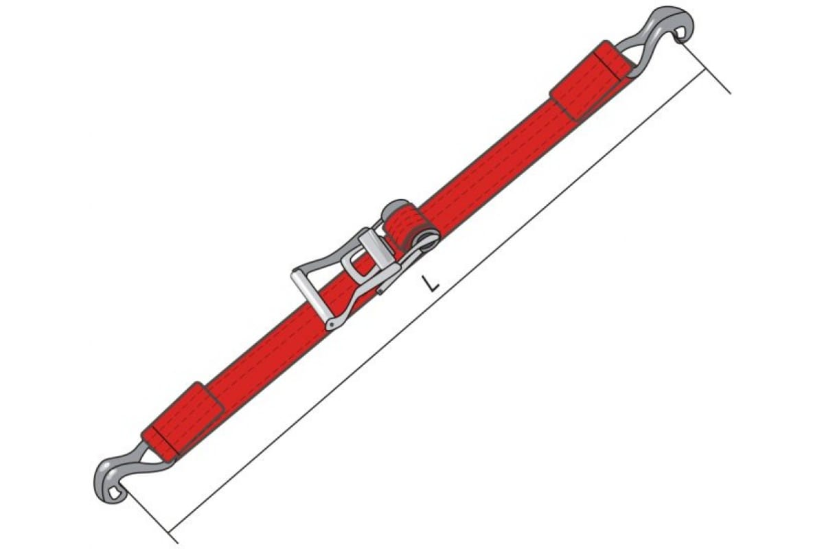 Ремень для крепления груза с крюками КантаПлюс Рэтчет 25 мм/5.0м  1